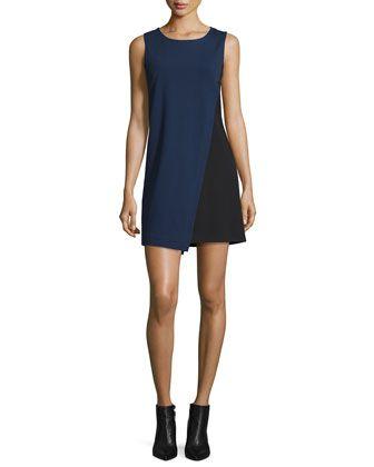 Livvy+Asymmetric+Colorblock+Dress,+Midnight/Black+by+Diane+von+Furstenberg+at+Neiman+Marcus.