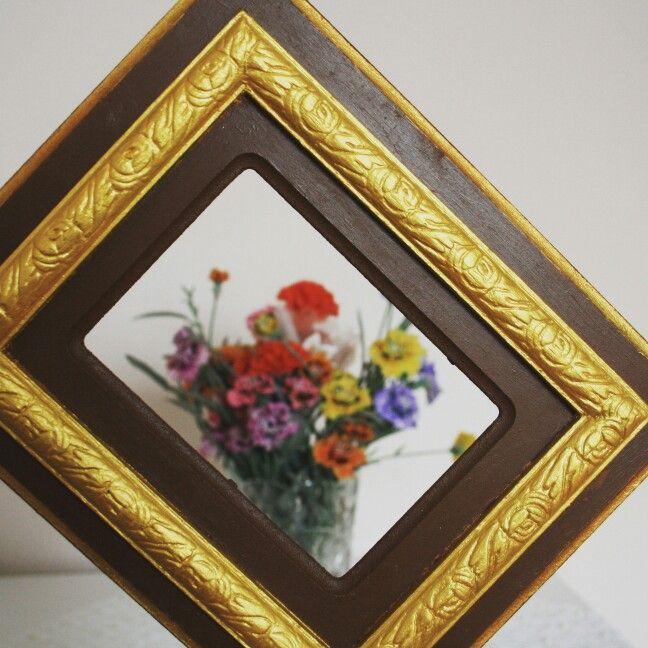 Altın Varaklı Ahşap Çerçeve  #altın #gold #ahşap #wood #darkcoffee #varak #handmade #handcraft #elemeği #göznuru #renkahenkatolye #leaf