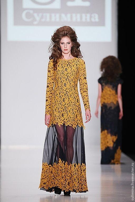 Купить Платье длинное, желтое кружево ГЛАМУР - платье, платье летнее, платье коктейльное