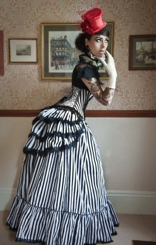Steampunk Gothic Victorian Bustle Skirt & Long Governess Skirt