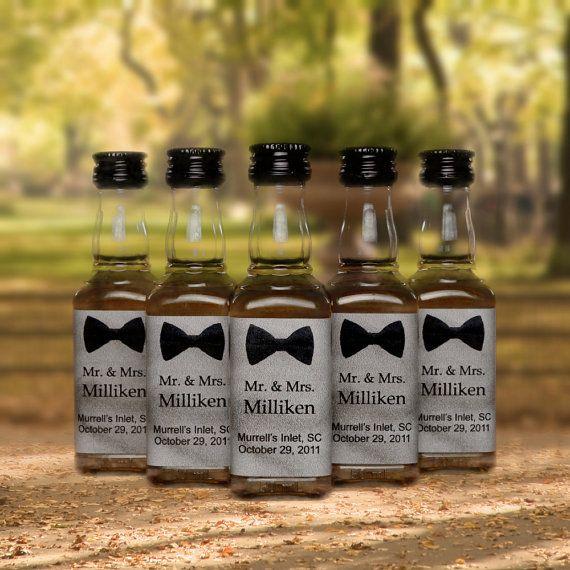 50 Wedding Favors Bow Tie Mini Bottle Labels For Wedding