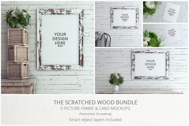 Scratched Wood MockUp Bundle  - Free Design of The Week Design