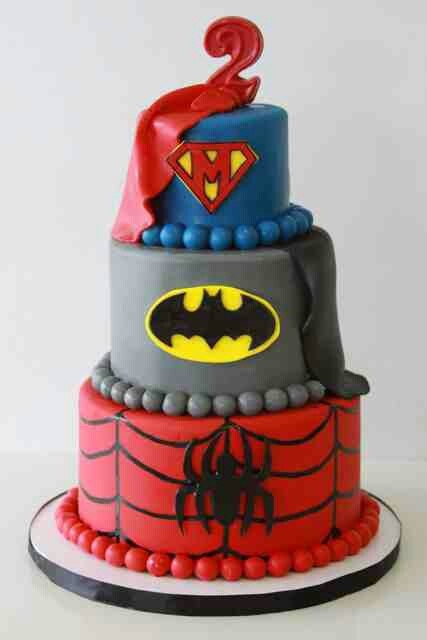 Super hero cake with Batman, superman & spiderman. Maybe for groom's cake. Can also do a 3 tier cake, one layer superhero (Spider-Man), one gym related, and the other baseball themed.