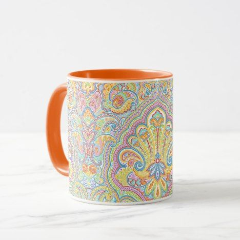 Unique Colorful Bright Paisley Floral Motif Mug #coffee #mug #mugs #muglove #coffeetime #coffeemug #gifts #style #tea
