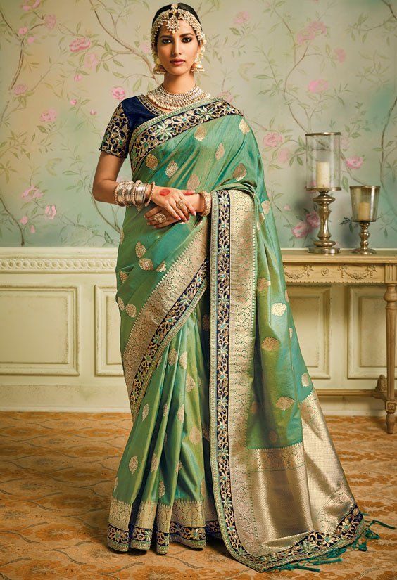 Moss Green Designer Silk Saree