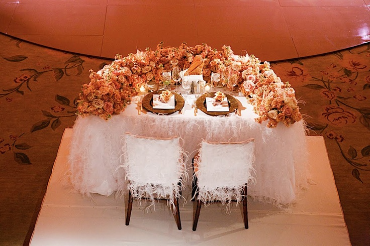 Bride And Groom Table With Orange Flowers Wedding