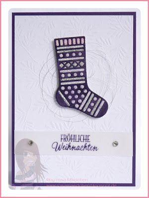 Stampin' Up! rosa Mädchen Kulmbach: Stamp A(r)ttack Blog Hop es glitzert: Weihnachtskarte mit besonderem Designerpapier Eisfantasie, Von den Socken und Thinlits Formen Weihnachtsstrümpfe