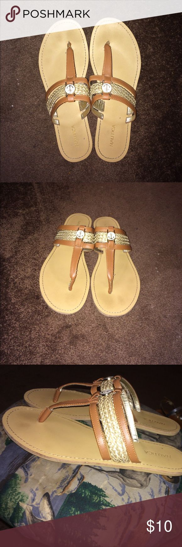 Tan and Gold Sandals Tan and Gold three strap sandals with an anchor in the middle Shoes Sandals