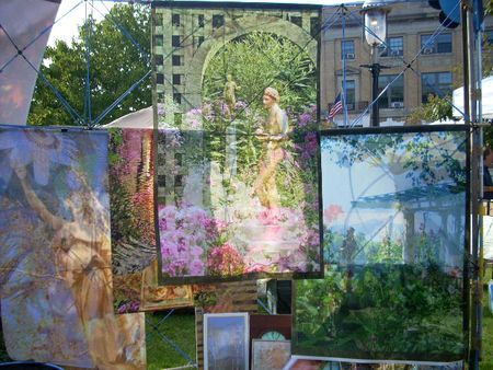 Holly Alderman, Double Messenger and more garden banners at Art in the Park, Charlestown MA