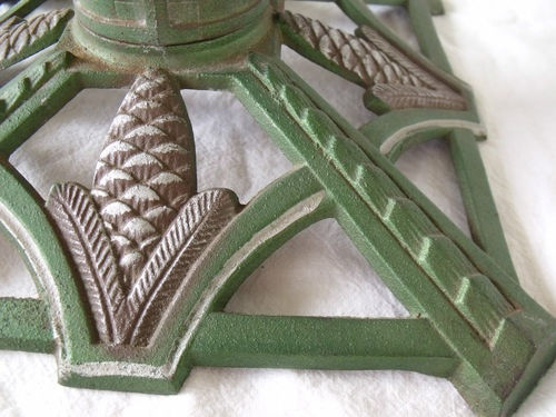 Vintage Art Deco 1930s Cast Iron Christmas Tree Stand Green Silver Gold | eBay