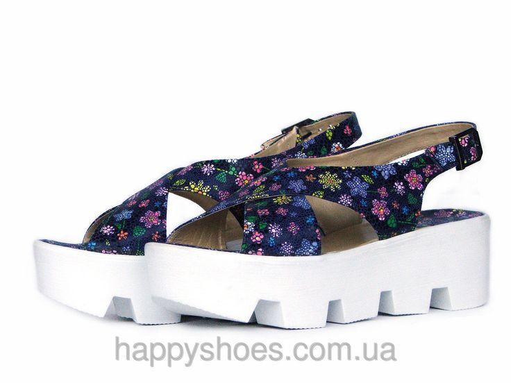 """Синие кожаные сандалии с цветочным принтом на тракторной подошве: продажа, цена в Запорожье. босоножки и сабо женские от """"HappyShoes"""" - 270862590"""