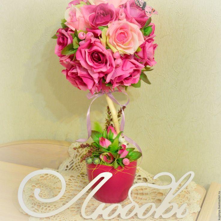 """Купить Топиарий """"Розовые сны"""" - розовый, топиарий, Дерево счастья, дерево роз, топиарий с розами"""
