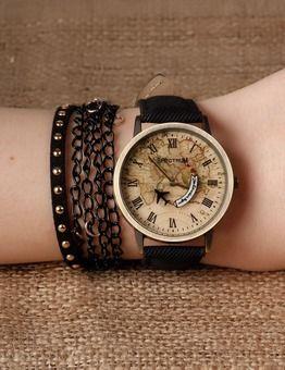 Siyah Deri Kordonlu Bayan Saat Ve Bileklik Kombini