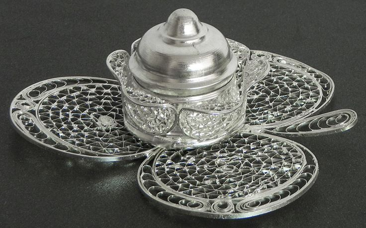 Sterling Silver Kumkum Container with Filigree Work (Sterling Silver))
