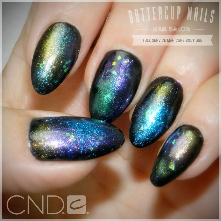 CND Shellac in Black Pool with multiple pigment Additives and iridescent glitter.  #CND #CNDWorld #CNDShellac #Shellac #nails #nail #nailstagram #naildesign #naildesigns #nailaddict #nailpro #nailart #nailartist #nailartdesign #nailartofinstagram #nailartdesigns
