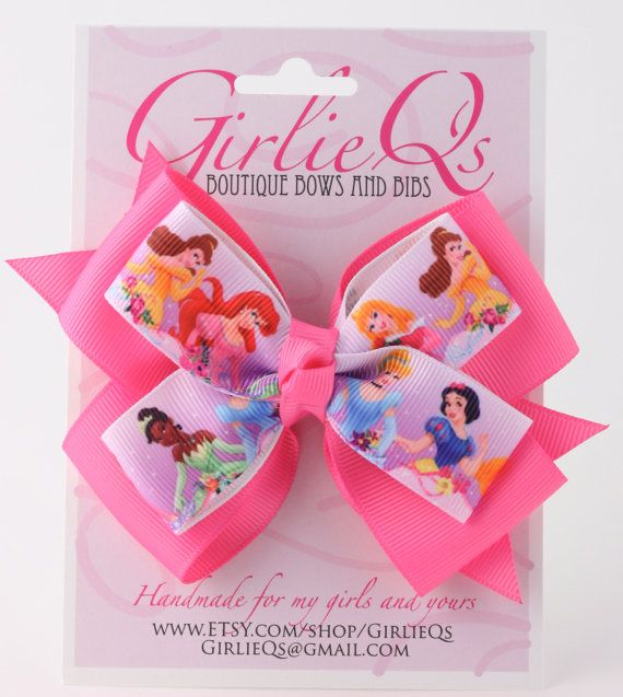"""Disney Princess Hair Bow Hair Clip 5"""" x 4"""" Cinderella Snow White Belle Ariel Tiana Sleeping Beauty Aurora"""