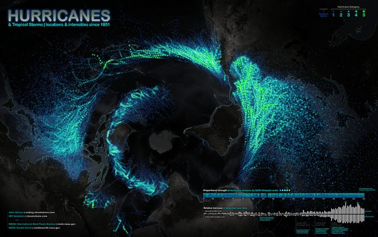 Map shows hurricanes and tropical storms that have churned across the globe from 1851 through 2010.  CREDIT: John Nelson, IDV Solutions.