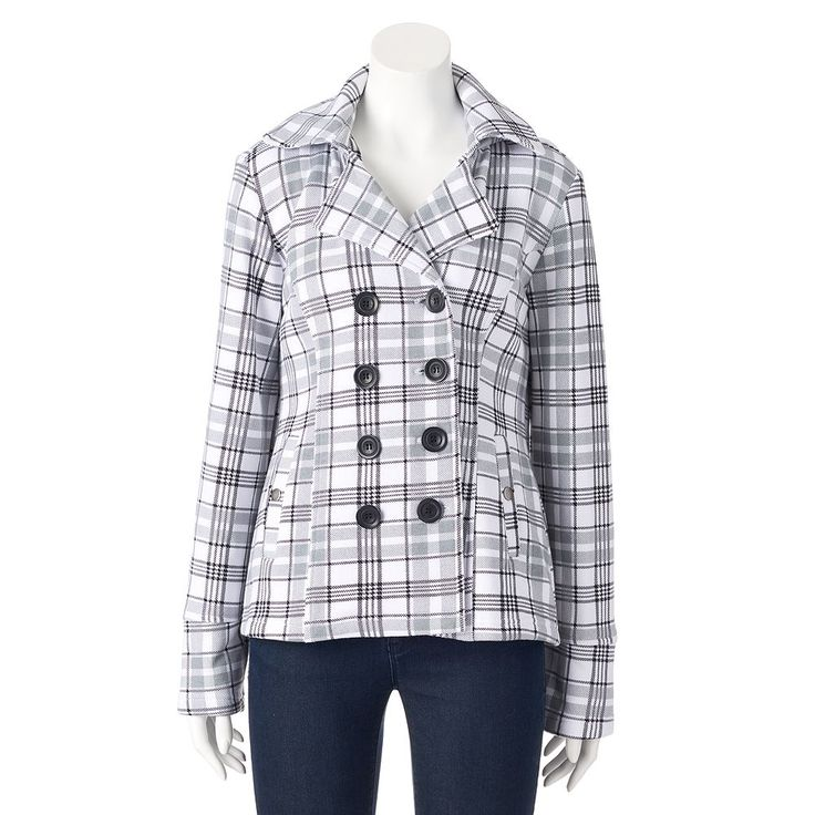 Women's Sebby Hooded Fleece Plaid Double-Breasted Peacoat, Size: Medium, White