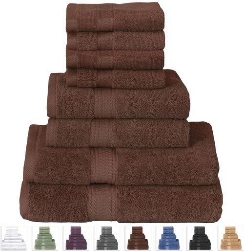 Dark Brown Cotton 8 PC Bath Towel Set, 2 Hand Towels, 4 Washcloths