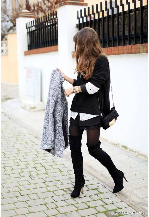 Blackhighheels Cuissardes, Cuissardes Outfit, Collants Fins, Chaussures, La Mode, Envoyer, Faire, Look Rock Femme, Looks Femme