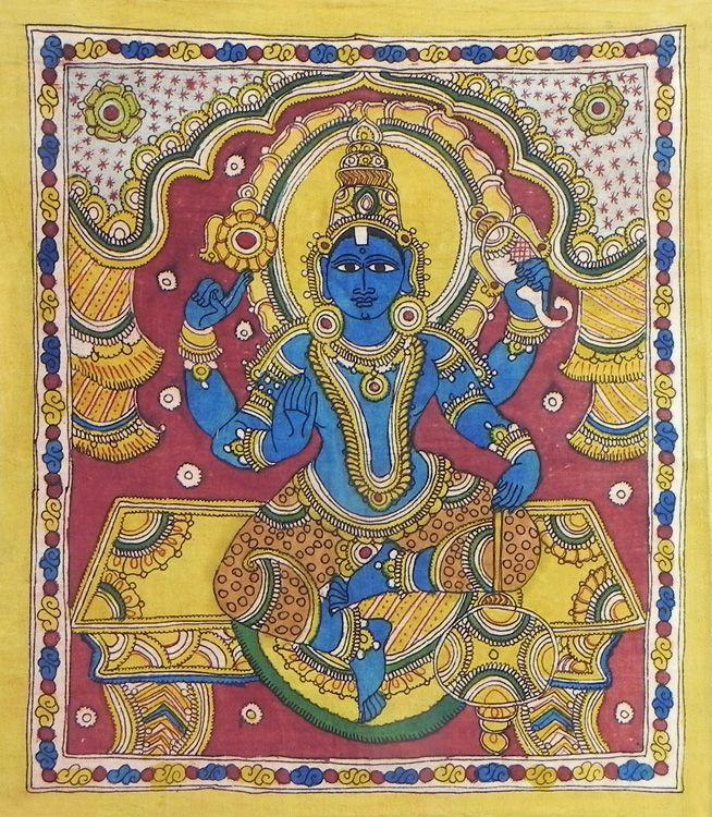 Lord Vishnu (Kalamkari Paintings on Cotton - Unframed))