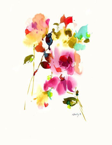 Flower watercolor plants