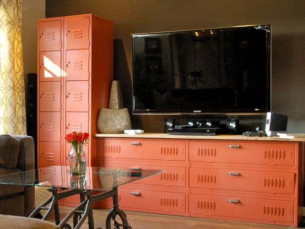 Notice how the lockers are turned on their side and used as a TV stand...thinking outside the box!