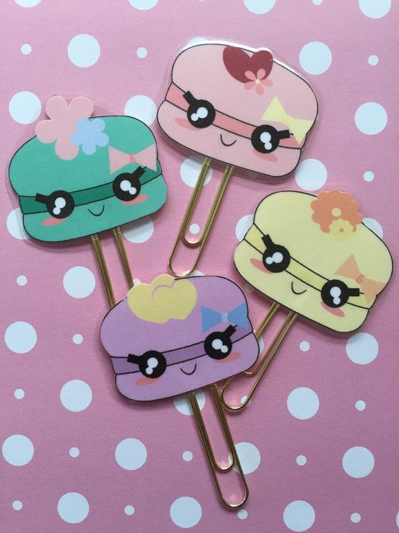 Cute Kawaii Macaroon Planner Clips