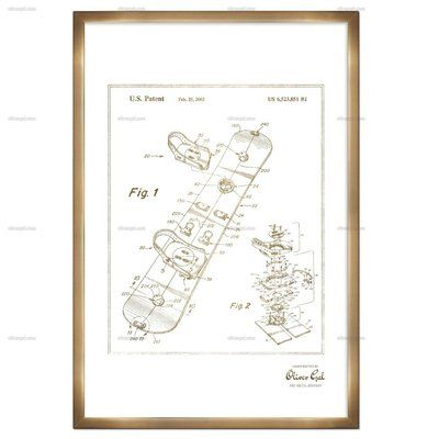 Trent Austin Design 'Snowboard 2003' Framed Print in Gold Frame Color: Bronze