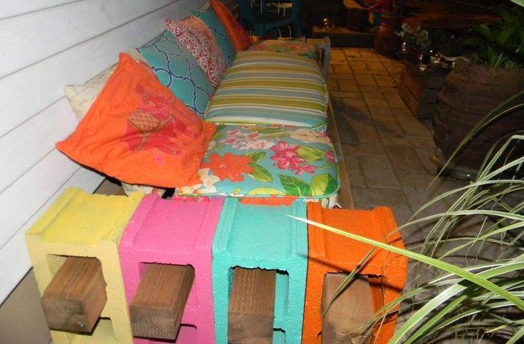 cinder block bench, outdoor furniture, outdoor living, patio, repurposing upcycling, Add 4x4x8 wooden beams