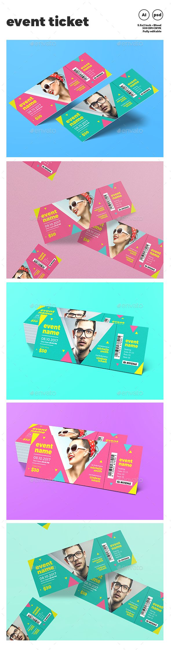 Event Ticket — PSD Template #nightclub #season • Download ➝… More