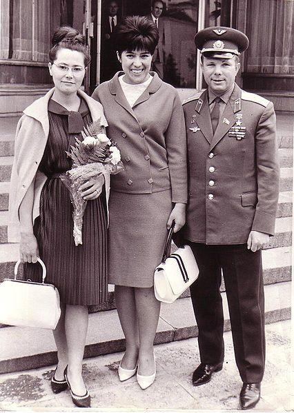 Yuri Gagarin (Russian cosmonaut, first human in space), his wife Valentina Gagarina (left) and Sima Eyvazova (Soviet diplomat) in Sofia, Bulgaria, 1966