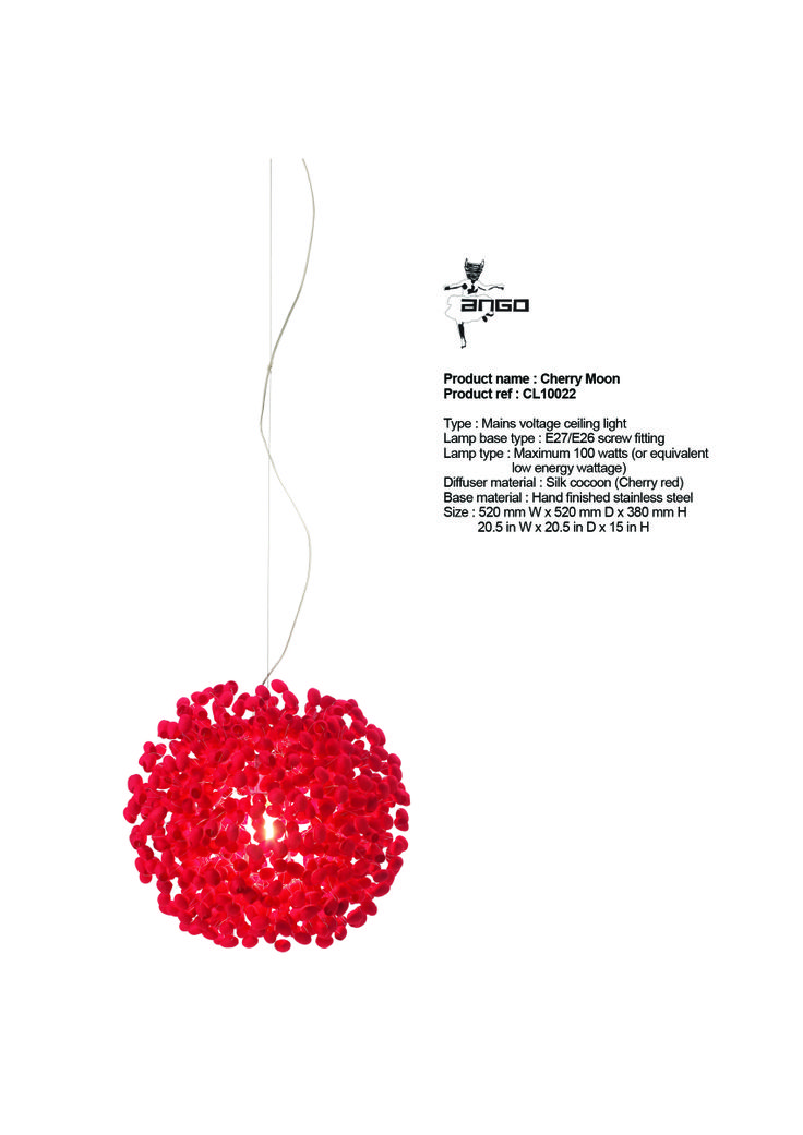 CHERRY MOON - haning lamp. Also available in black colored cocoons (midnight moon) or natural color cocoons (full moon). www.udogangl.com