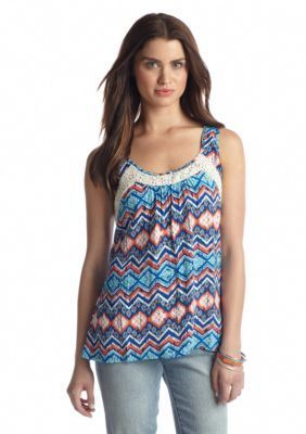 Red Camel  Lace Insert Printed Tank