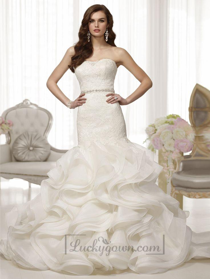 Fabulous Lace Bodice Organza Layeres Skirt Trumpet Wedding Dresses