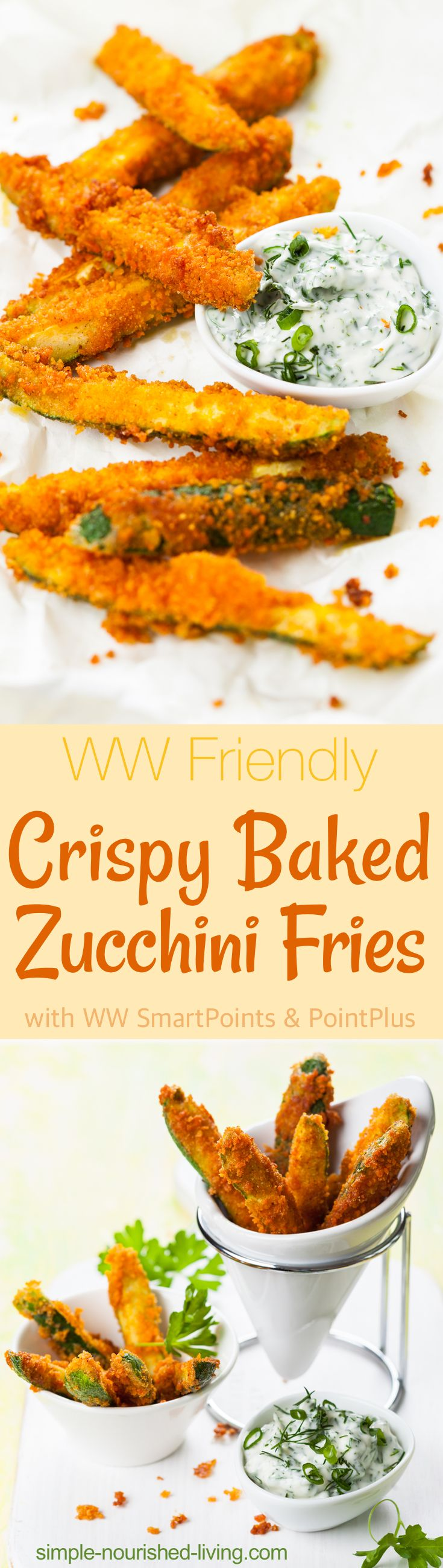Super-crispy and just as satisfying as fried, these WW Friendly Baked Zucchini Fries turned out even better than I hoped. *3 Weight Watchers SmartPoints - Simple-Nourished-Living.com