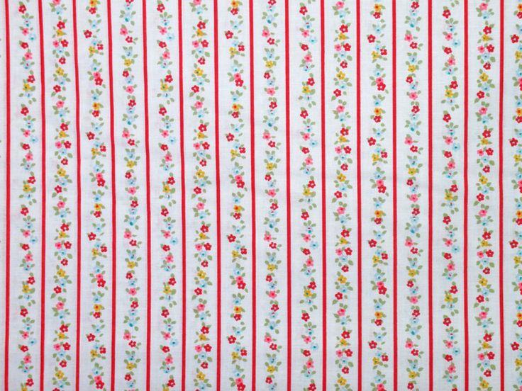 Telas estampadas - Tela estampada flores y rayas rojas Ref. TE100 - hecho a mano por Nedi--Gonzalez en DaWanda