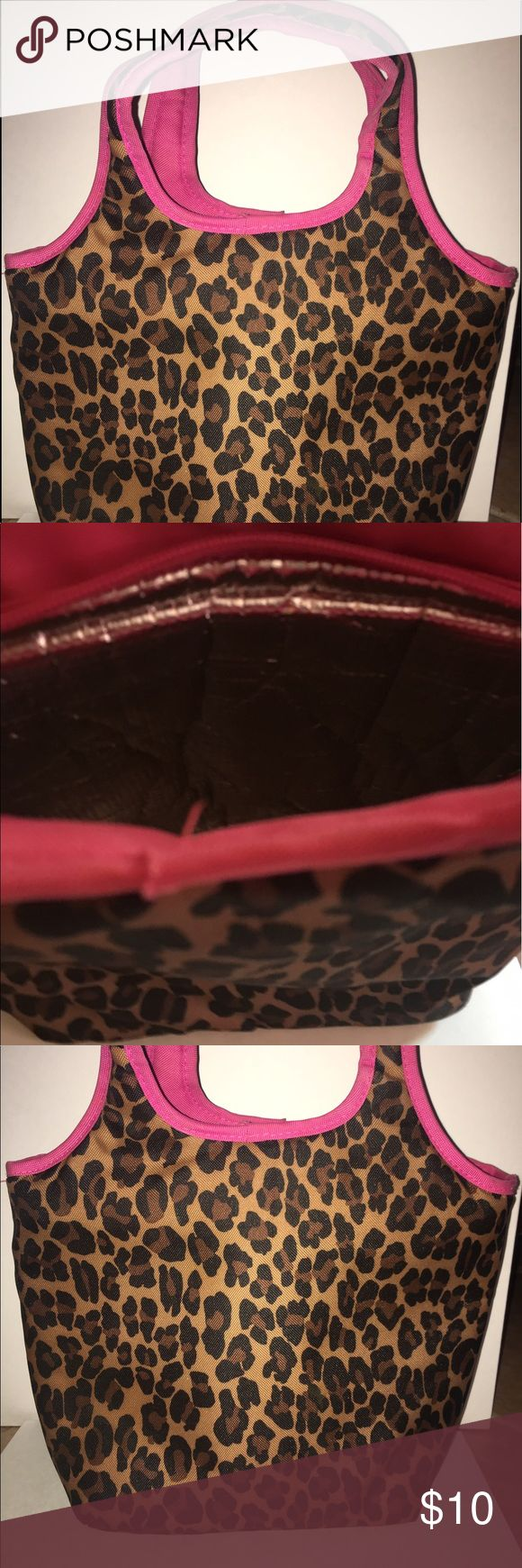 Leopard and hot pink lunch cooler/bag/tote Cooler lining. EUC Bags Travel Bags