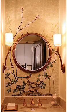 Chinoiserie bathroom walls