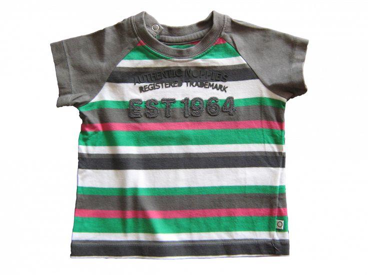 Maat 74 T-shirt Bruin/roze/groen/wit/zwart gestreept met tekst  Merk Noppies