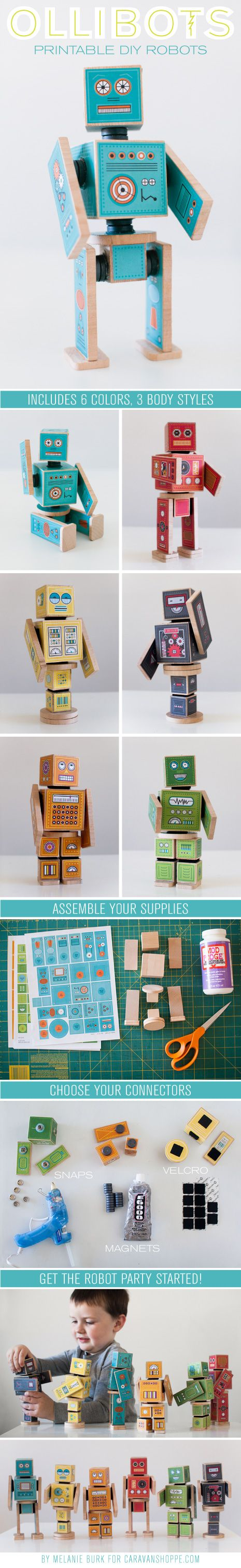 How cute for lining up on a shelf! LOVE this idea for a boys room! Printable DIY Robots! So great to make as gifts and as part of a craft night!