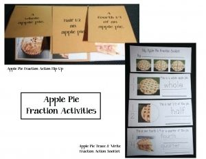 Help students understand fractions by using an apple pie.  While cutting a whole pie, into halves and then fourths, explain each fraction.  To reinforce math concepts and new vocabulary, students make an apple fraction flip up booklet.  A trace and write apple fraction booklet is also included, with matching apple fraction pocket or word wall word cards.