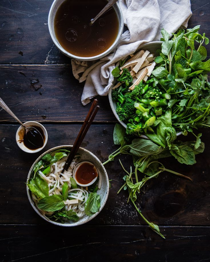 Pho Noodle Salad // pho flavored dressing, rice noodles, pan-fried broccolini, napa cabbage, five-spice tofu, bean sprouts, Asian herbs