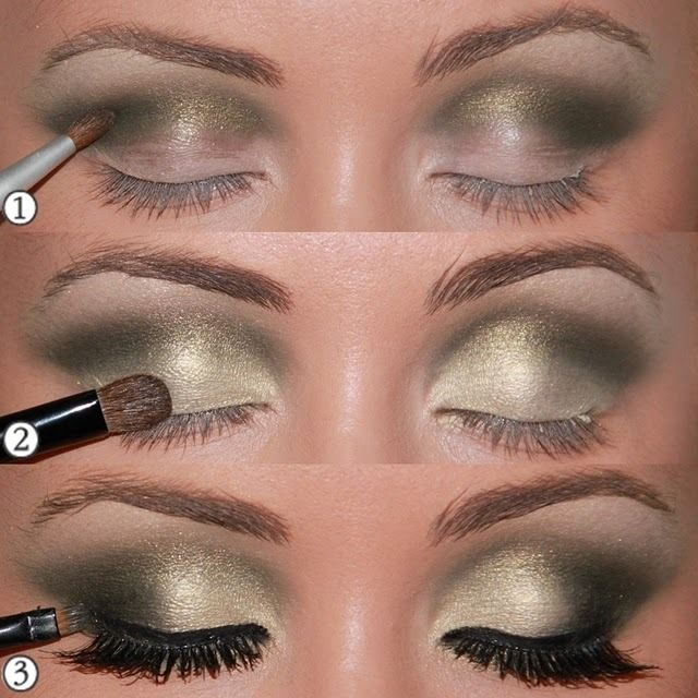 """ 1 - scoring well in line with the hollow tone moss green and smoky … 2-Fill the entire eyelid with the golden tone up a little on the line until the concave blend well with the shade of green..."