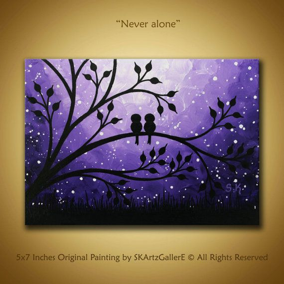 Love birds Painting, Mini Canvas art, Purple painting Birds on tree art Love…