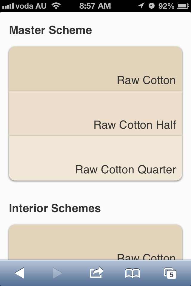 Raw cotton Quarter from Dulux neutral range for interior walls