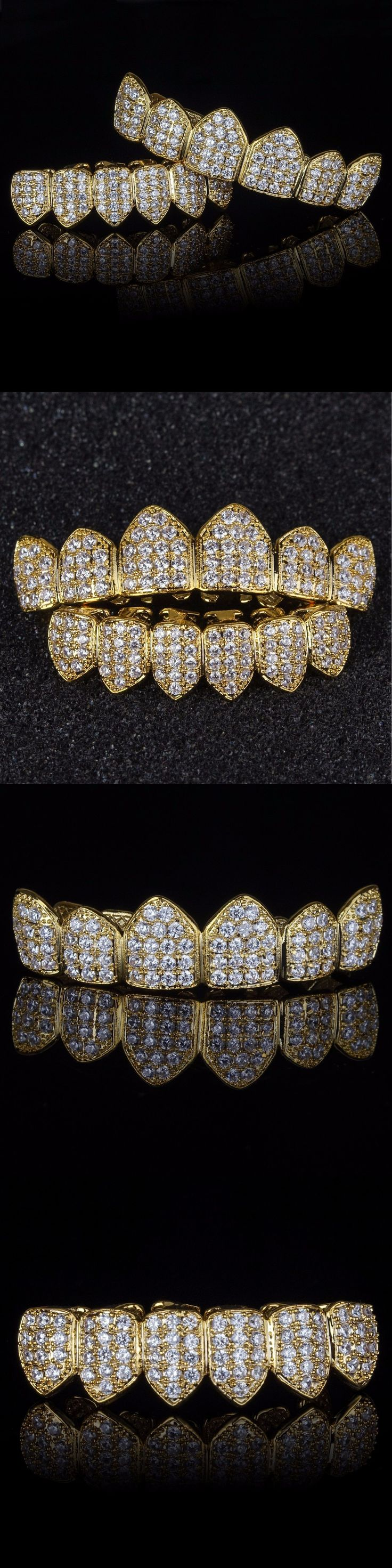 Grillz Dental Grills 152808: 18K Gold Plated High Quality Cz Top And Bottom Grillz Mouth Teeth Grills BUY IT NOW ONLY: $49.99