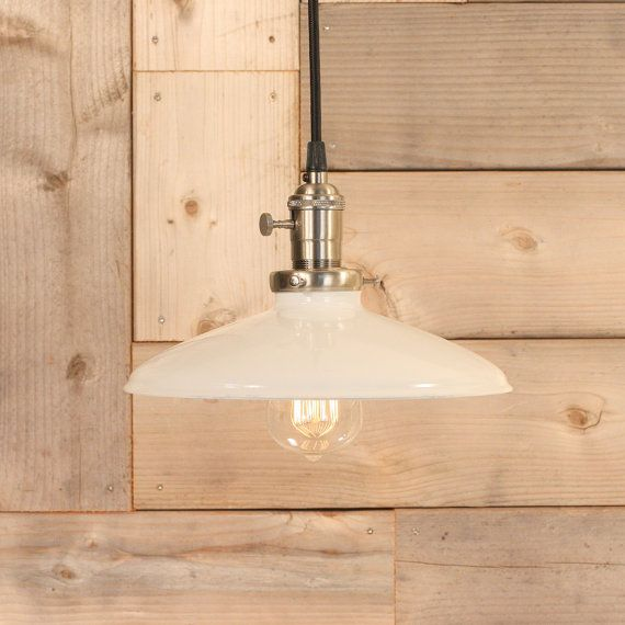Hanging Pendant Light With White Enamel Shade by lucentlampworks