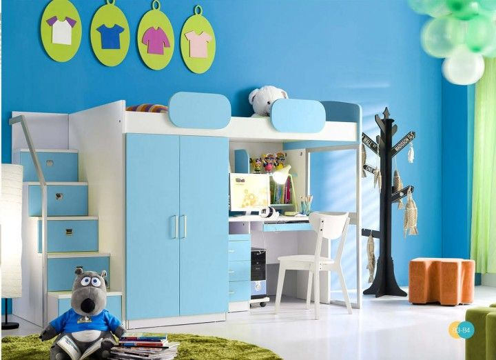 hochbett geko schreibtisch schrank treppe in blau m bel kinderzimmer pinterest. Black Bedroom Furniture Sets. Home Design Ideas
