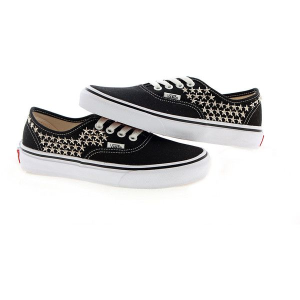 Studded Vans Silver Star studs with Black vans / One by customduo ($95) via Polyvore